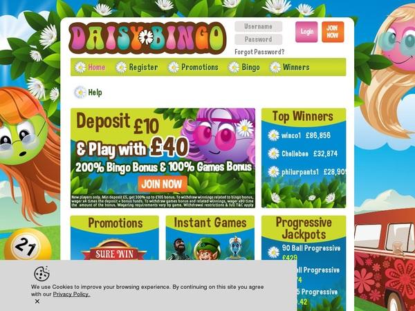 Daisy Bingo Free Bets