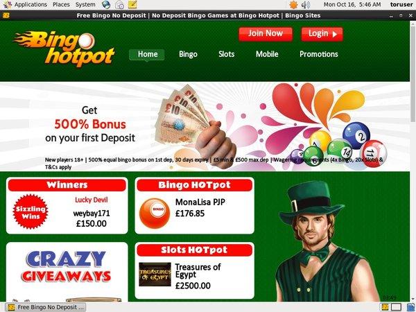 Bingo Hotpot Paypal Deposit