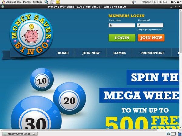 Money Saver Bingo Sign Up Code