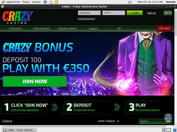 Join Crazycasino