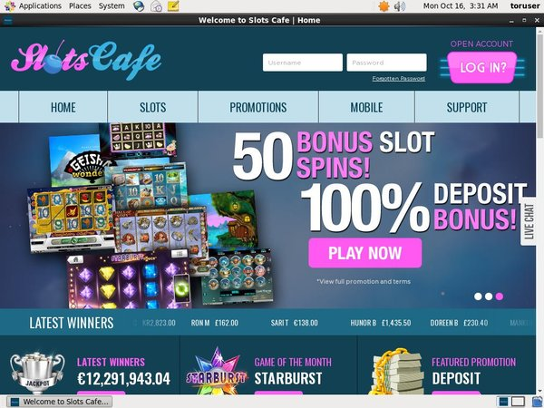 Welcome Offer Slots Cafe