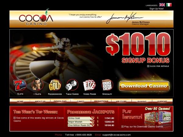 Cocoa Casino Bonus Promotions
