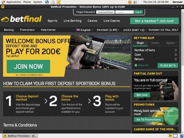 Betfinal Sports Bonus No Deposit